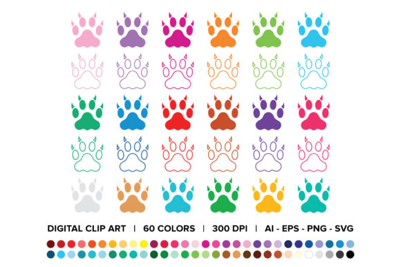 Print on Demand: Cat Claw Paw Print Clip Art Set Graphic Objects By Running With Foxes