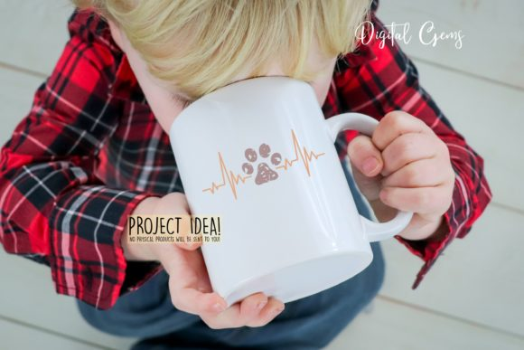 Cat and Paw Print Heart Beat Designs Graphic By Digital Gems Image 5