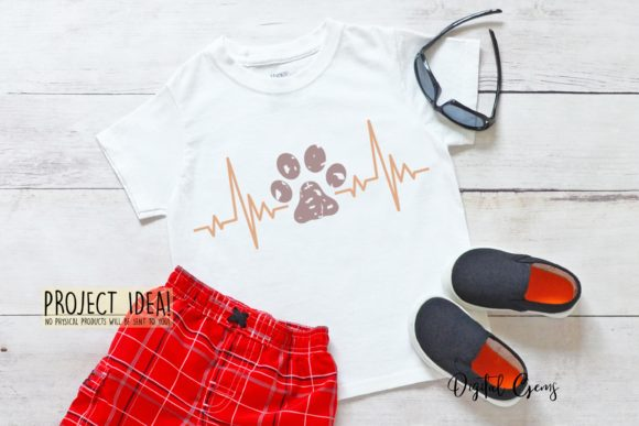 Cat and Paw Print Heart Beat Designs Graphic By Digital Gems Image 6