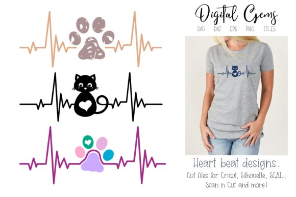 Cat and Paw Print Heart Beat Designs Graphic By Digital Gems