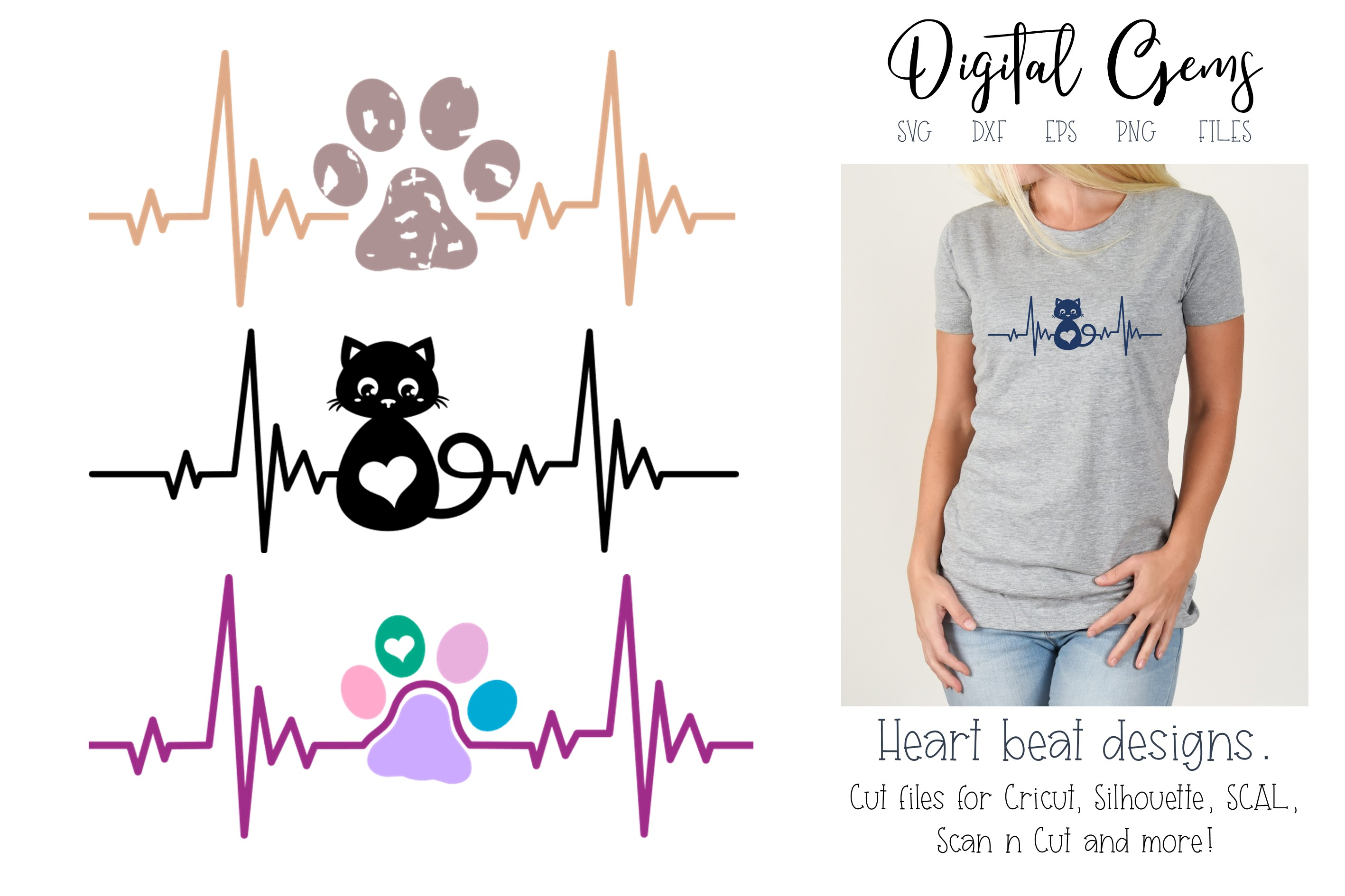 Download Free Cat And Paw Print Heart Beat Designs Graphic By Digital Gems for Cricut Explore, Silhouette and other cutting machines.