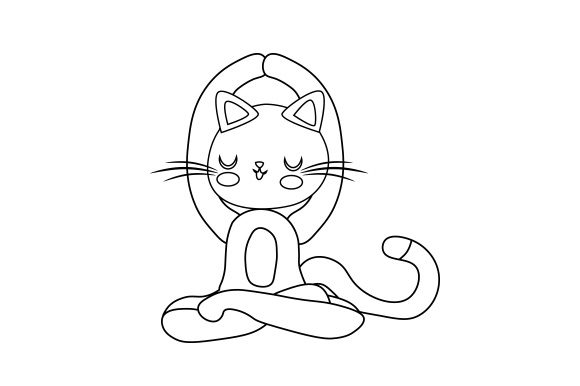 Cat Doing Yoga Poses Line Art Cats Craft Cut File By Creative Fabrica Crafts