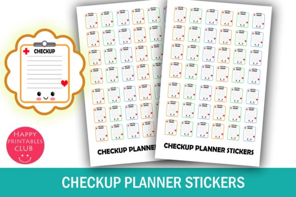 Print on Demand: Check-Up Planner Stickers-Health Checkup Graphic Crafts By Happy Printables Club