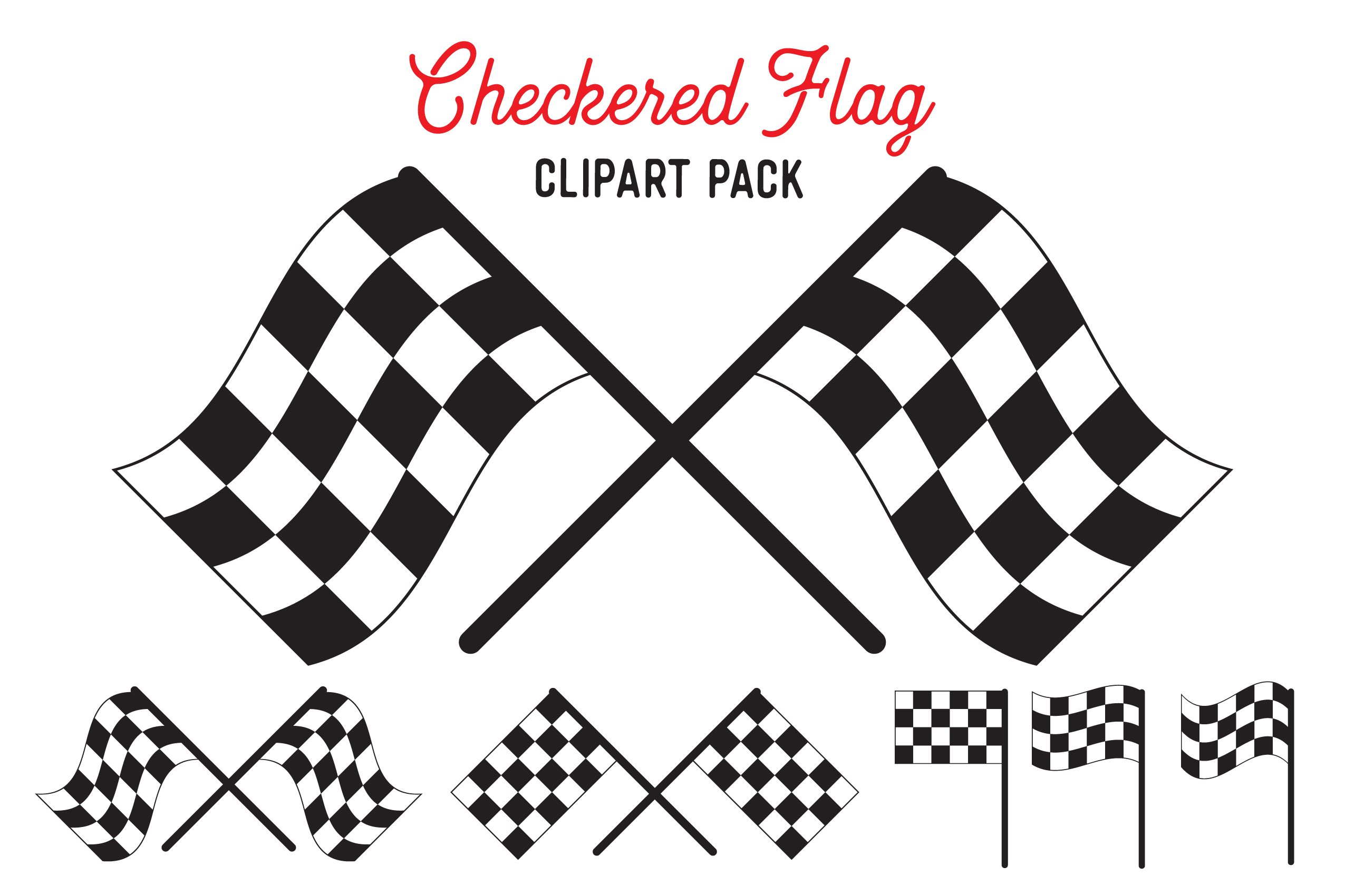 Download Free Checkered Flag Vector Design Bundle Graphic By The Gradient Fox for Cricut Explore, Silhouette and other cutting machines.