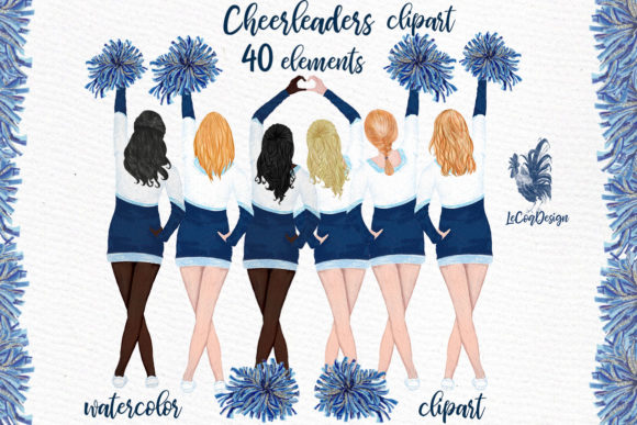 Download Free Cheerleaders Girls Clipart Grafico Por Lecoqdesign Creative Fabrica for Cricut Explore, Silhouette and other cutting machines.