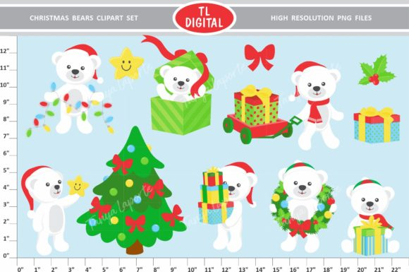 Download Free Christmas Bears Clipart Set Graphic By Tl Digital Creative Fabrica for Cricut Explore, Silhouette and other cutting machines.