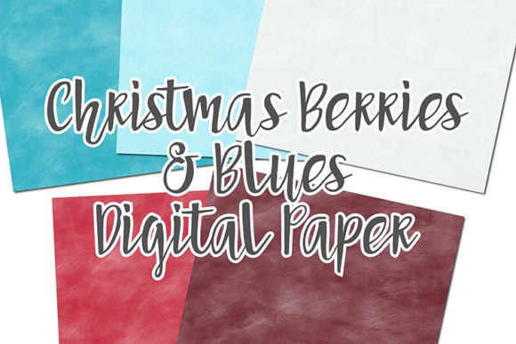 Print on Demand: Christmas Berries & Blues Digital Papers Graphic Backgrounds By boecustomdesign