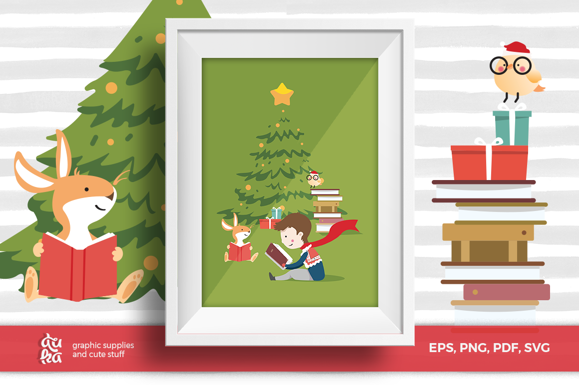 Download Free Christmas Card A6 Vector Elements Graphic By Duka Creative for Cricut Explore, Silhouette and other cutting machines.