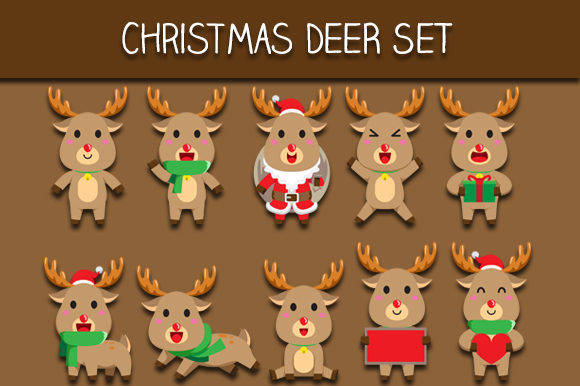 Download Free Christmas Deer Set Graphic By Bayu Baluwarta Creative Fabrica for Cricut Explore, Silhouette and other cutting machines.