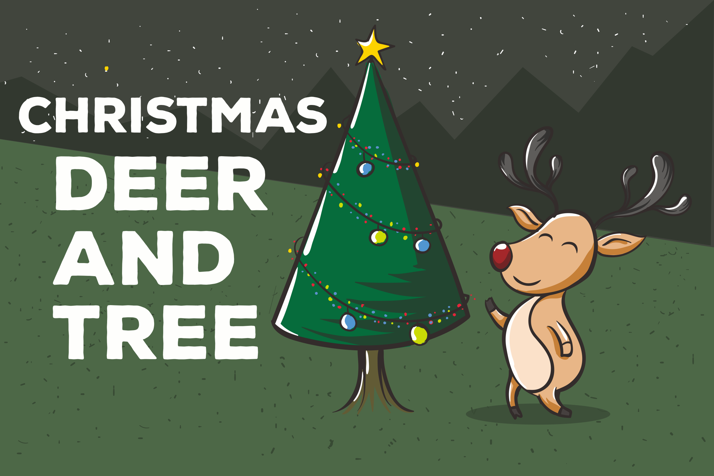 Download Free Christmas Deer And Tree Vector Graphic By Peterdraw Creative for Cricut Explore, Silhouette and other cutting machines.