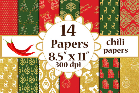Christmas Digital Papers, A4 Papers Graphic Crafts By ChiliPapers