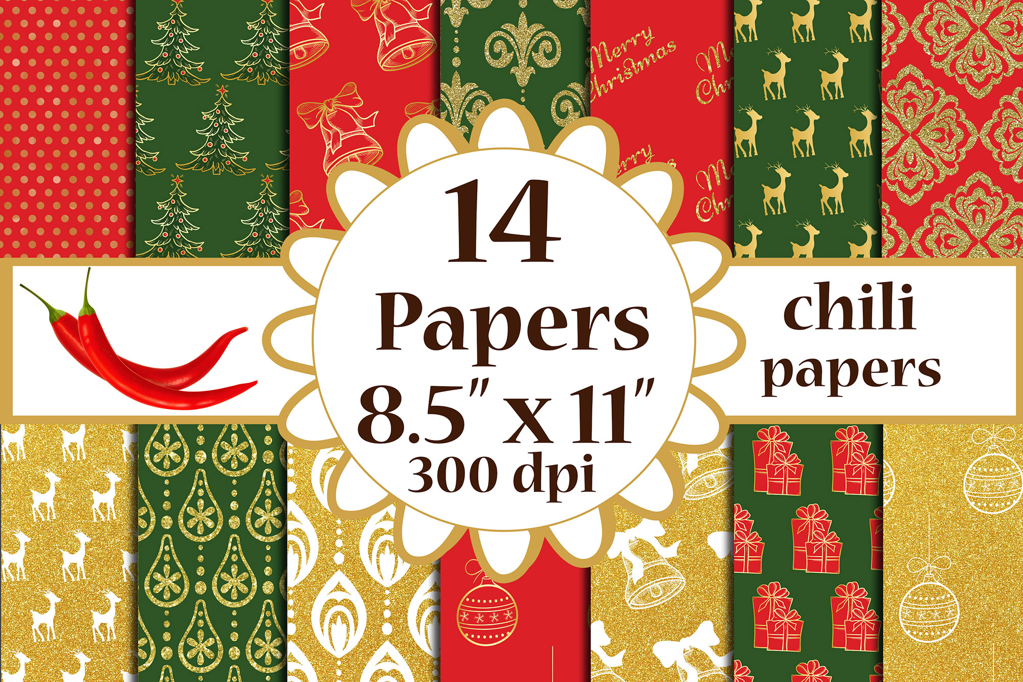 Download Free Christmas Digital Papers A4 Papers Graphic By Chilipapers for Cricut Explore, Silhouette and other cutting machines.
