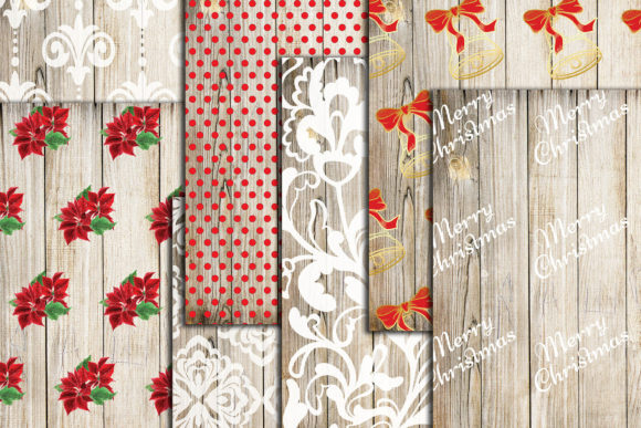 Christmas Digital Papers Wood Shabby A4 Graphic Crafts By ChiliPapers - Image 2
