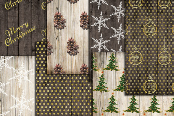 Christmas Digital Papers Wood Shabby A4 Graphic Crafts By ChiliPapers - Image 3
