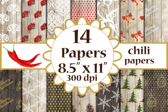 Christmas Digital Papers Wood Shabby A4 Graphic Crafts By ChiliPapers - Image 1