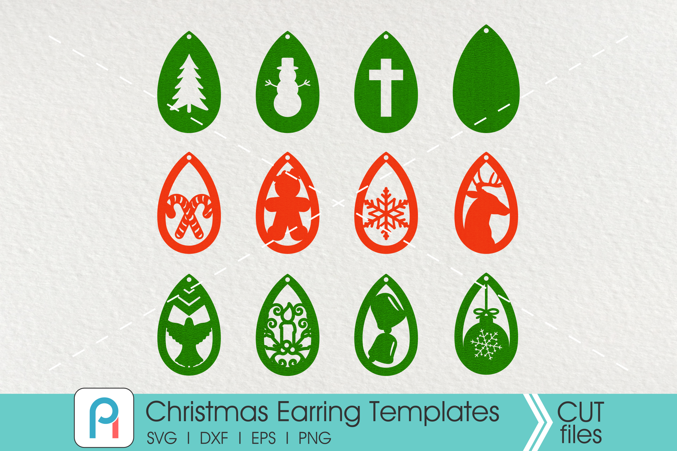 Download Free Christmas Earrings Template Svg Bundle Grafico Por for Cricut Explore, Silhouette and other cutting machines.