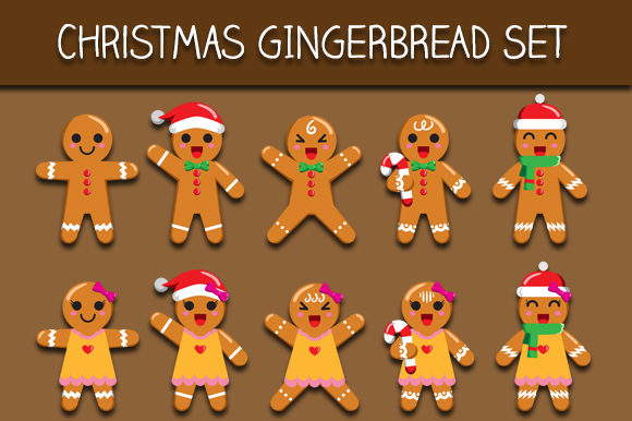 Download Free Christmas Gingerbread Set Graphic By Bayu Baluwarta Creative for Cricut Explore, Silhouette and other cutting machines.