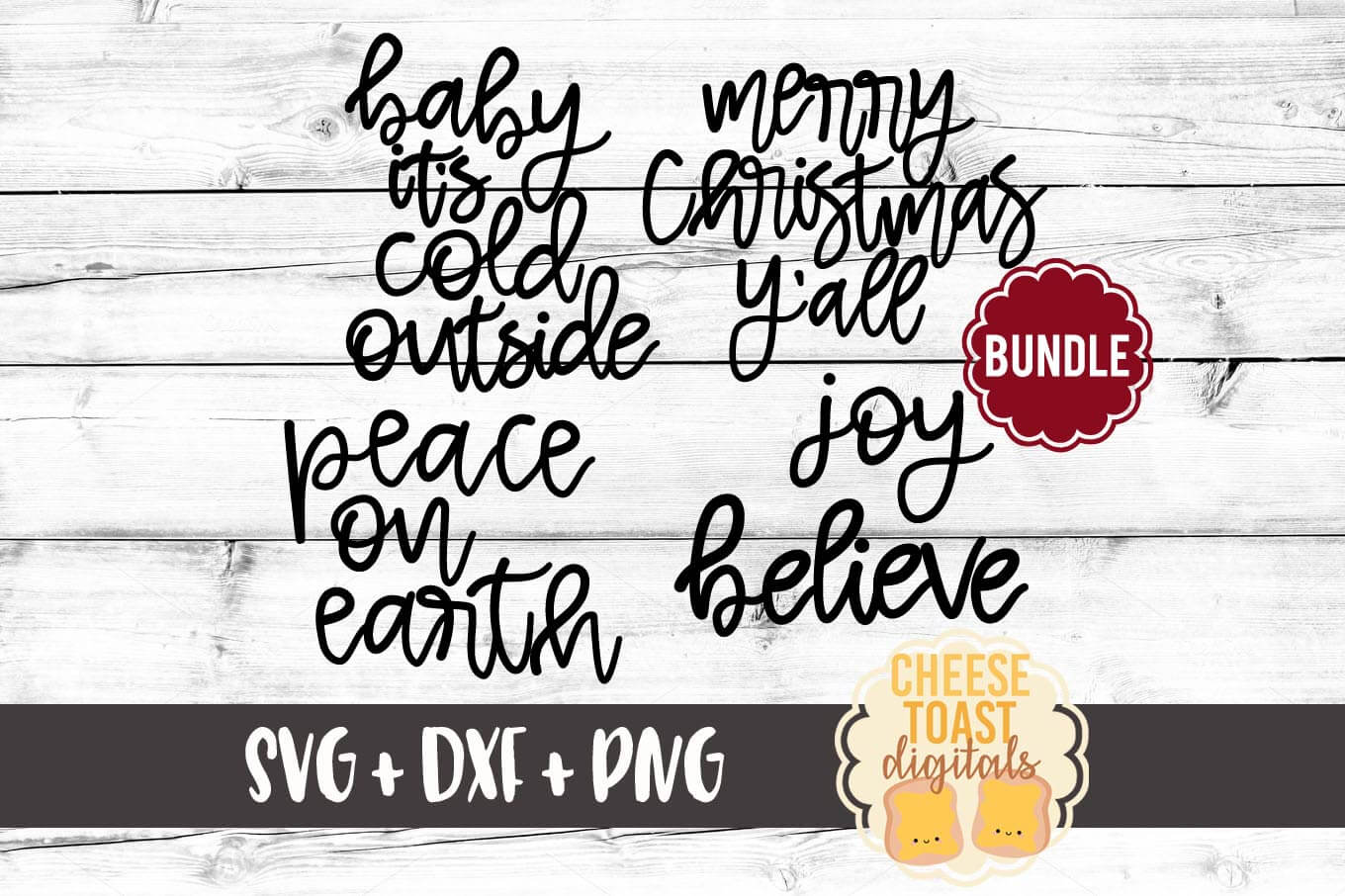 Download Free Christmas Hand Lettered Bundle Graphic By Cheesetoastdigitals for Cricut Explore, Silhouette and other cutting machines.