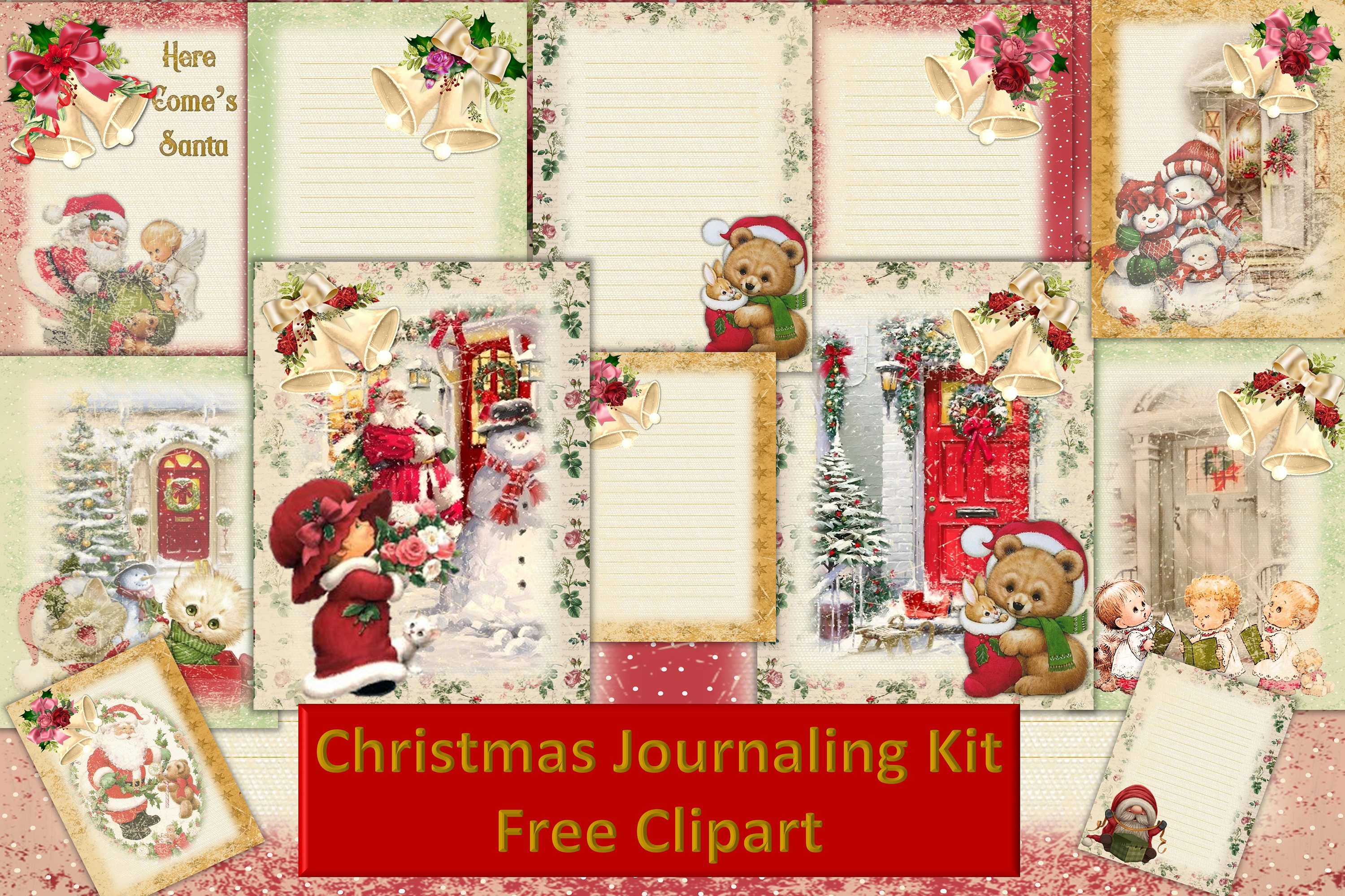 Download Free Christmas Junk Journal Kit Free Clipart Graphic By The Paper for Cricut Explore, Silhouette and other cutting machines.