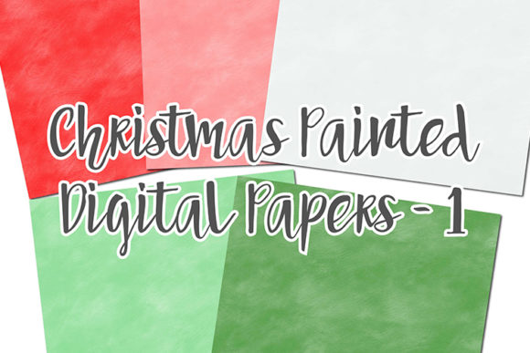 Print on Demand: Christmas Painted Digital Papers Graphic Backgrounds By boecustomdesign