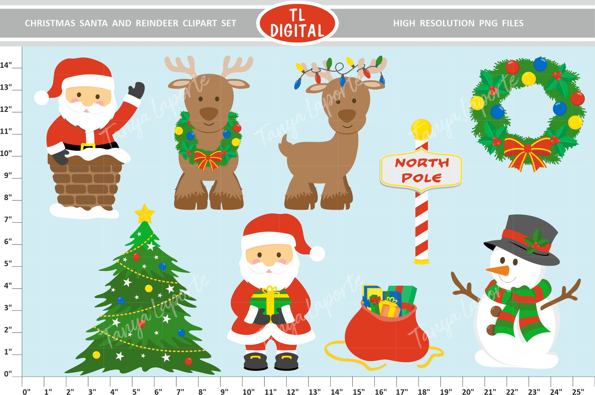 Download Free Christmas Santa And Reindeer Clipart Set Graphic By Tl Digital for Cricut Explore, Silhouette and other cutting machines.