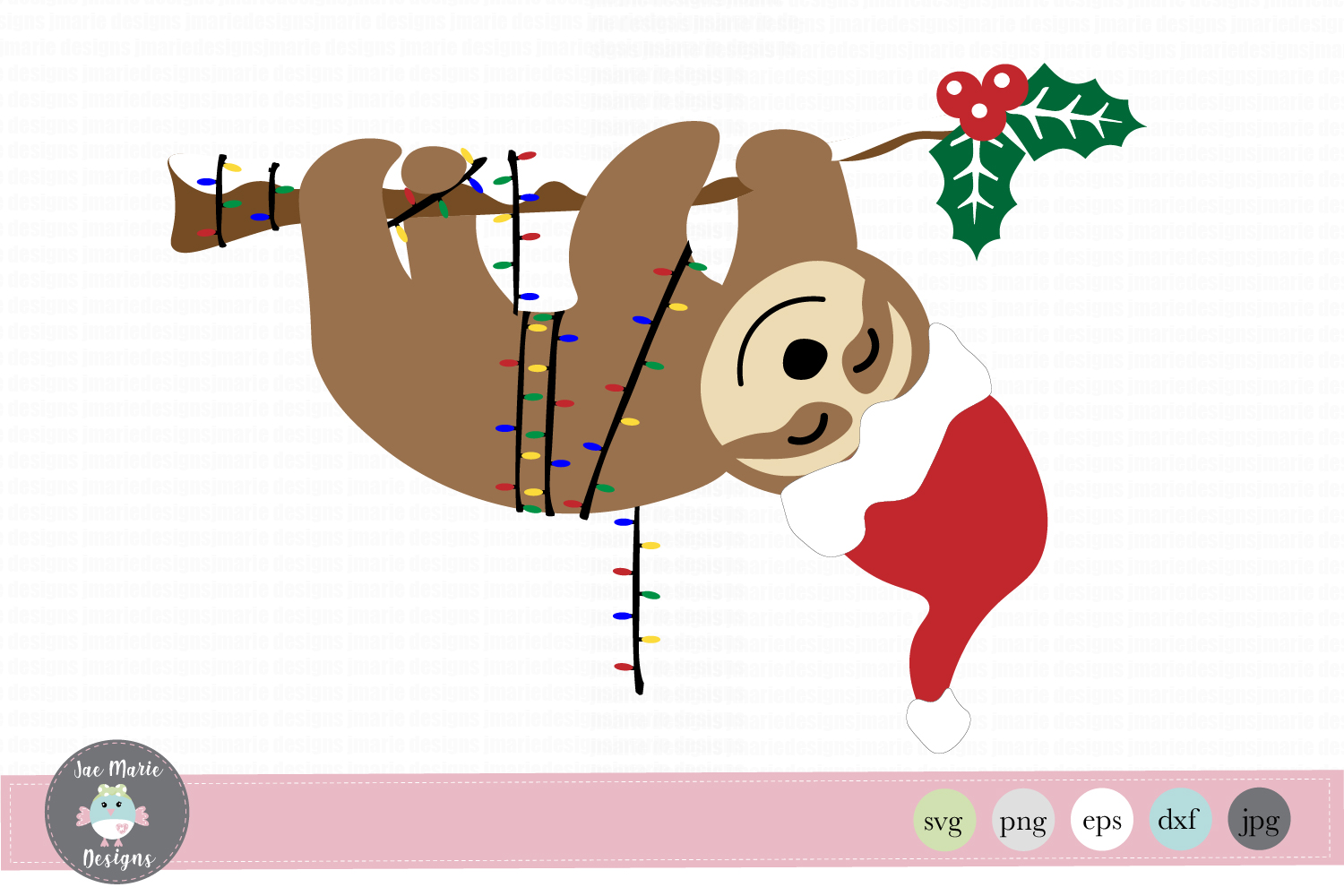 Download Free Christmas Sloth Graphic By Thejaemarie Creative Fabrica for Cricut Explore, Silhouette and other cutting machines.