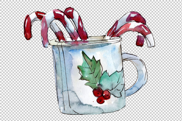 Download Free Christmas Tea Drinking Watercolor Graphic By Mystocks Creative for Cricut Explore, Silhouette and other cutting machines.