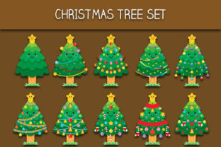 Download Free Christmas Tree Set Graphic By Bayu Baluwarta Creative Fabrica for Cricut Explore, Silhouette and other cutting machines.