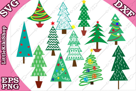 Download Free Christmas Tree Graphic By Littlekikishop Creative Fabrica for Cricut Explore, Silhouette and other cutting machines.