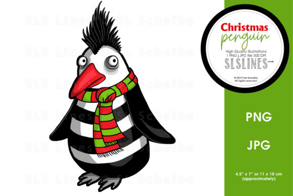 Print on Demand: Christmas Winter Penguin Graphic Illustrations By SLS Lines