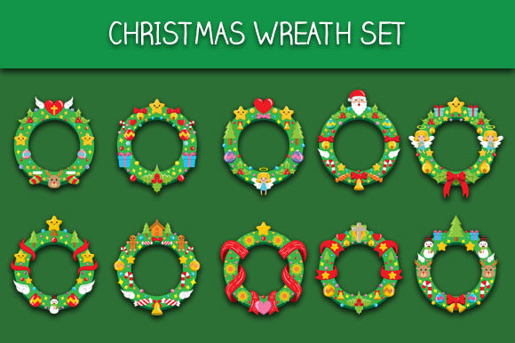 Download Free Christmas Wreath Set Graphic By Bayu Baluwarta Creative Fabrica for Cricut Explore, Silhouette and other cutting machines.