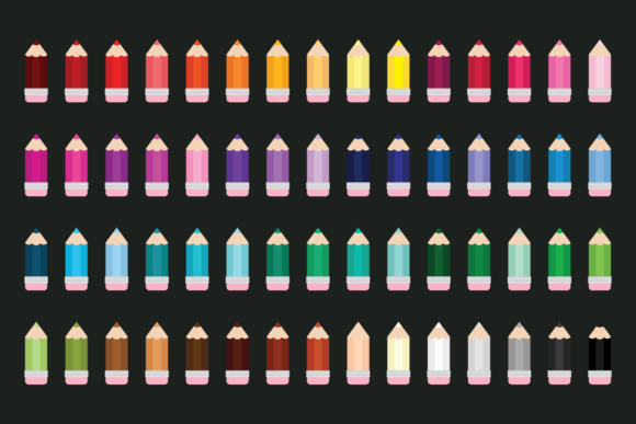 Chunky Color Pencil Clip Art Graphic Design