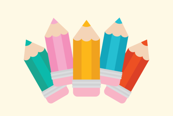 Chunky Color Pencil Clip Art Graphic Download