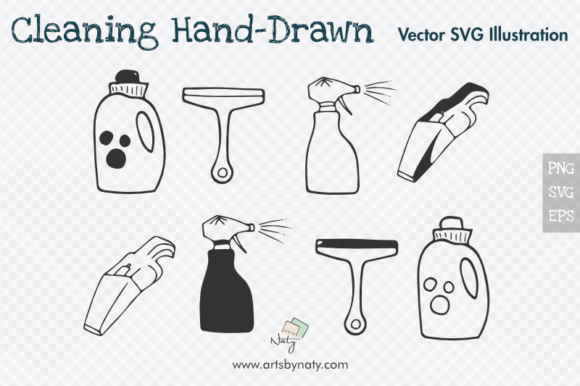 Print on Demand: Cleaning Hand-Drawn Vector Objects Graphic Illustrations By artsbynaty - Image 1