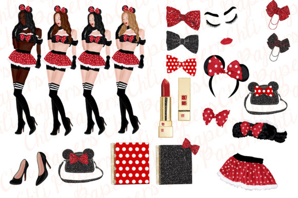 Clipart Planner Girls Graphic Illustrations By ChiliPapers