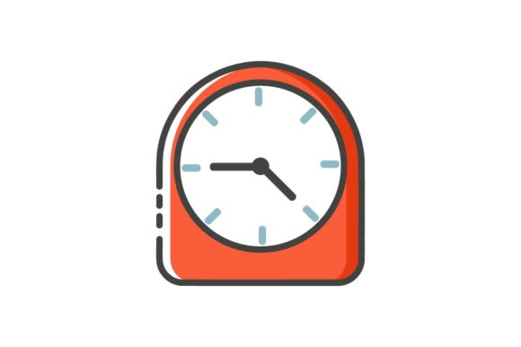 Print on Demand: Clock Line Icon Graphic Icons By Home Sweet - Image 1