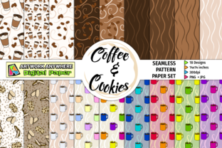 Coffee Cookies Seamless Pattern Papers Gráfico Moldes Por ArtworkAnywhere