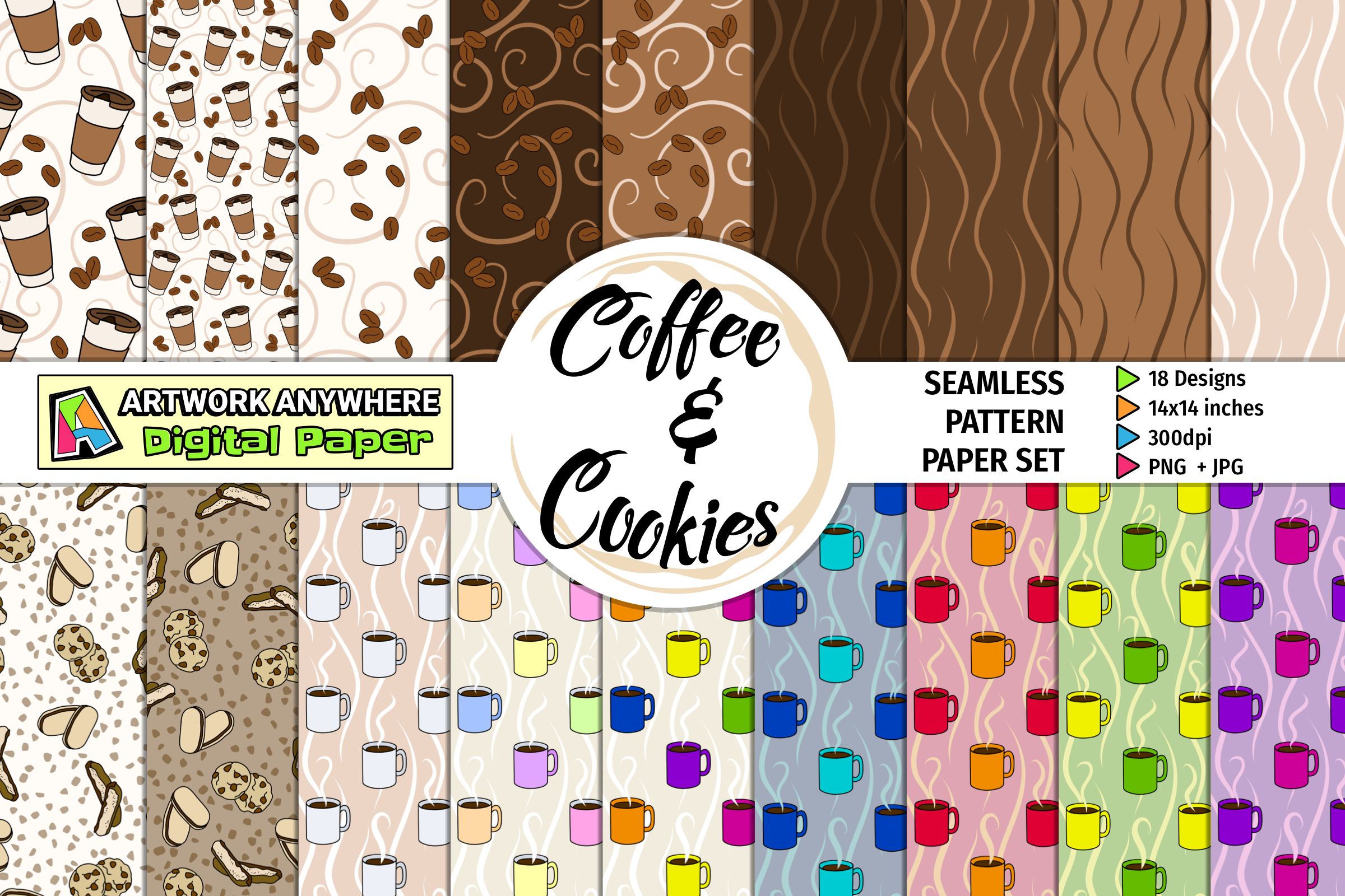 Download Free Coffee Cookies Seamless Pattern Papers Graphic By for Cricut Explore, Silhouette and other cutting machines.