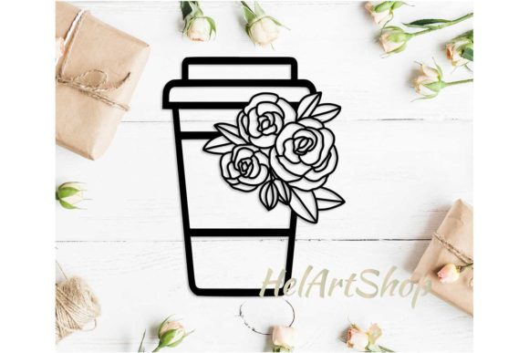 Download Free Coffee Cup With Flowers Svg Design Graphic By Helartshop for Cricut Explore, Silhouette and other cutting machines.