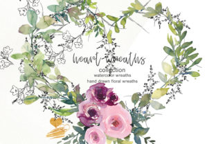 Download Free Collection Of Floral Heart Wreaths Graphic By Patishop Art Creative Fabrica for Cricut Explore, Silhouette and other cutting machines.