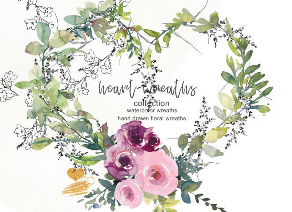 Collection of Floral Heart Wreaths Graphic Illustrations By Patishop Art