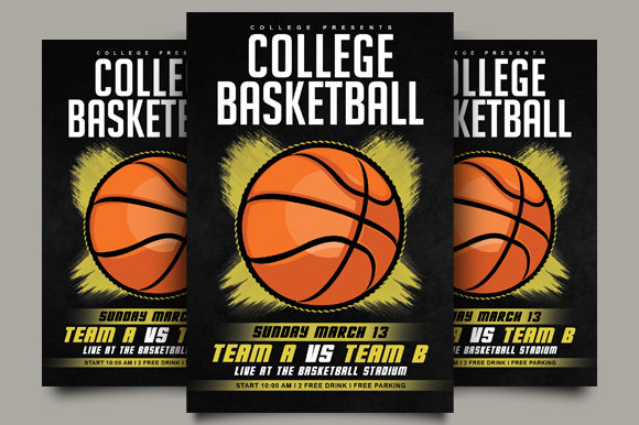Download Free College Basketball Flyer Graphic By Ayumadesign Creative Fabrica for Cricut Explore, Silhouette and other cutting machines.