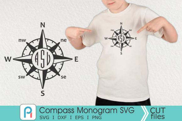 Compass Monogram Svg, Compass Svg Graphic Crafts By Pinoyartkreatib