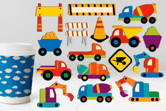 Print on Demand: Construction Truck Vehicles Graphic Illustrations By Revidevi