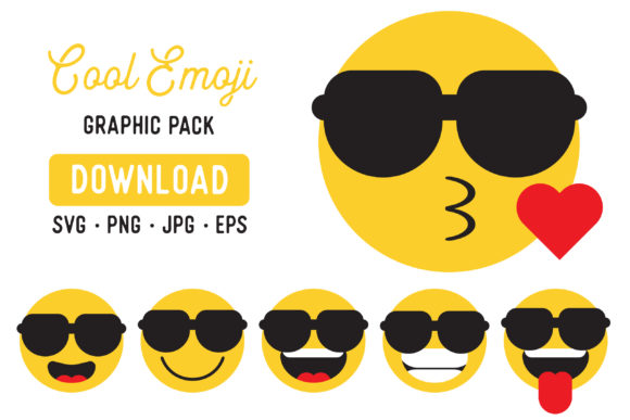 Print on Demand: Cool Emoji Vector Graphic Clipart Pack Graphic Illustrations By The Gradient Fox - Image 1
