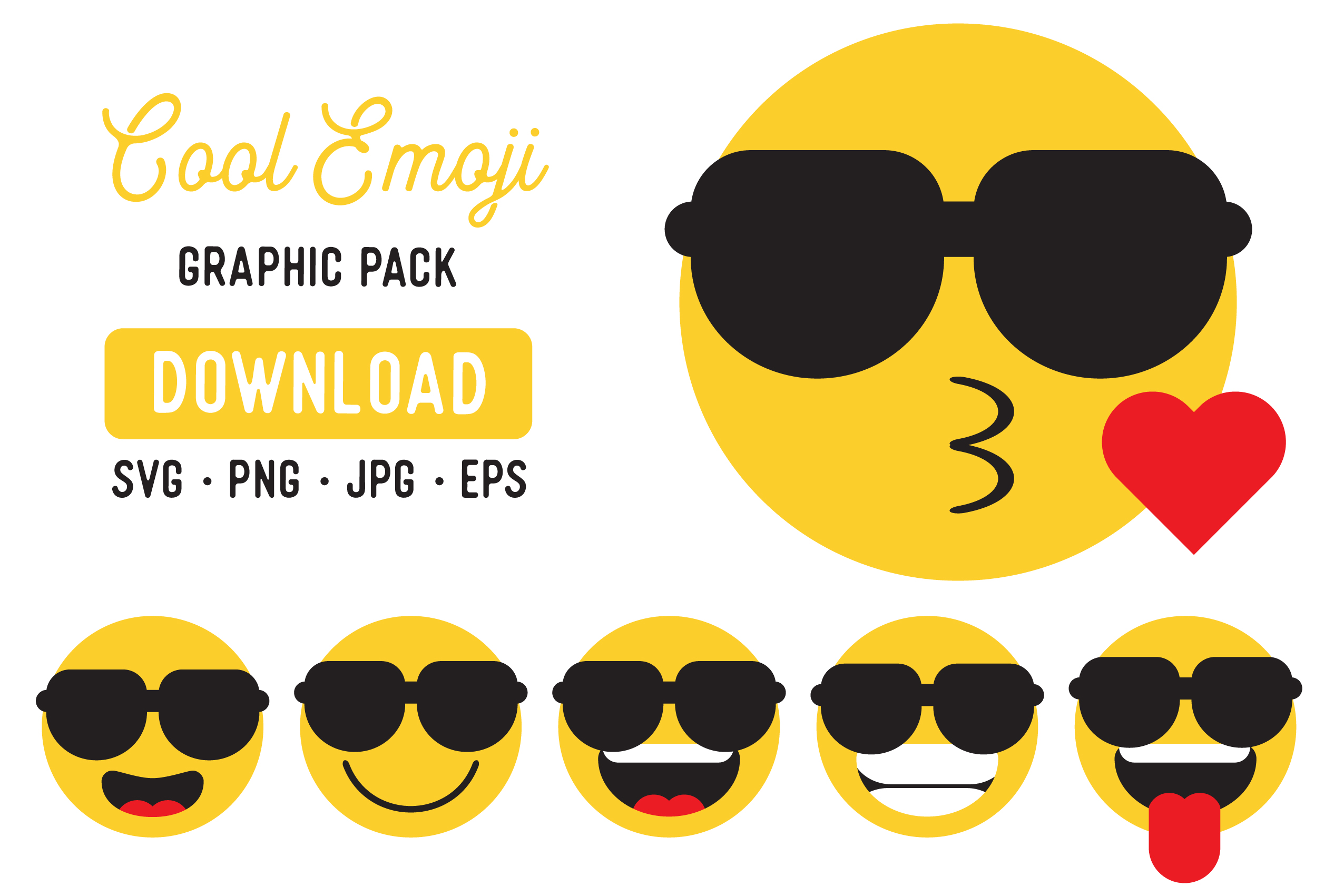 Download Free Cool Emoji Vector Graphic Clipart Pack Graphic By The Gradient for Cricut Explore, Silhouette and other cutting machines.