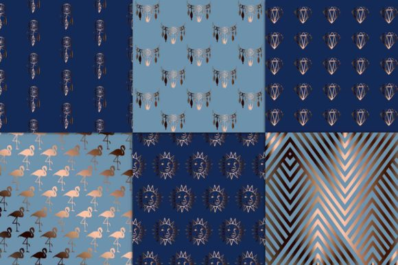 Print on Demand: Copper & Navy Backgrounds Graphic Textures By fantasycliparts - Image 2