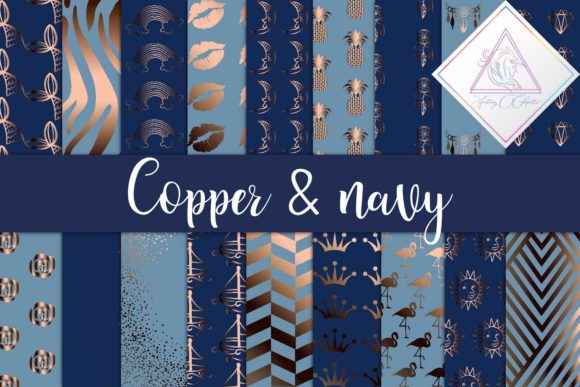 Print on Demand: Copper & Navy Backgrounds Graphic Textures By fantasycliparts - Image 1