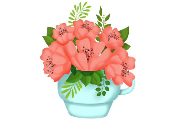 Download Free Coral Flowers In Cup Graphic By Tanatadesign Creative Fabrica for Cricut Explore, Silhouette and other cutting machines.