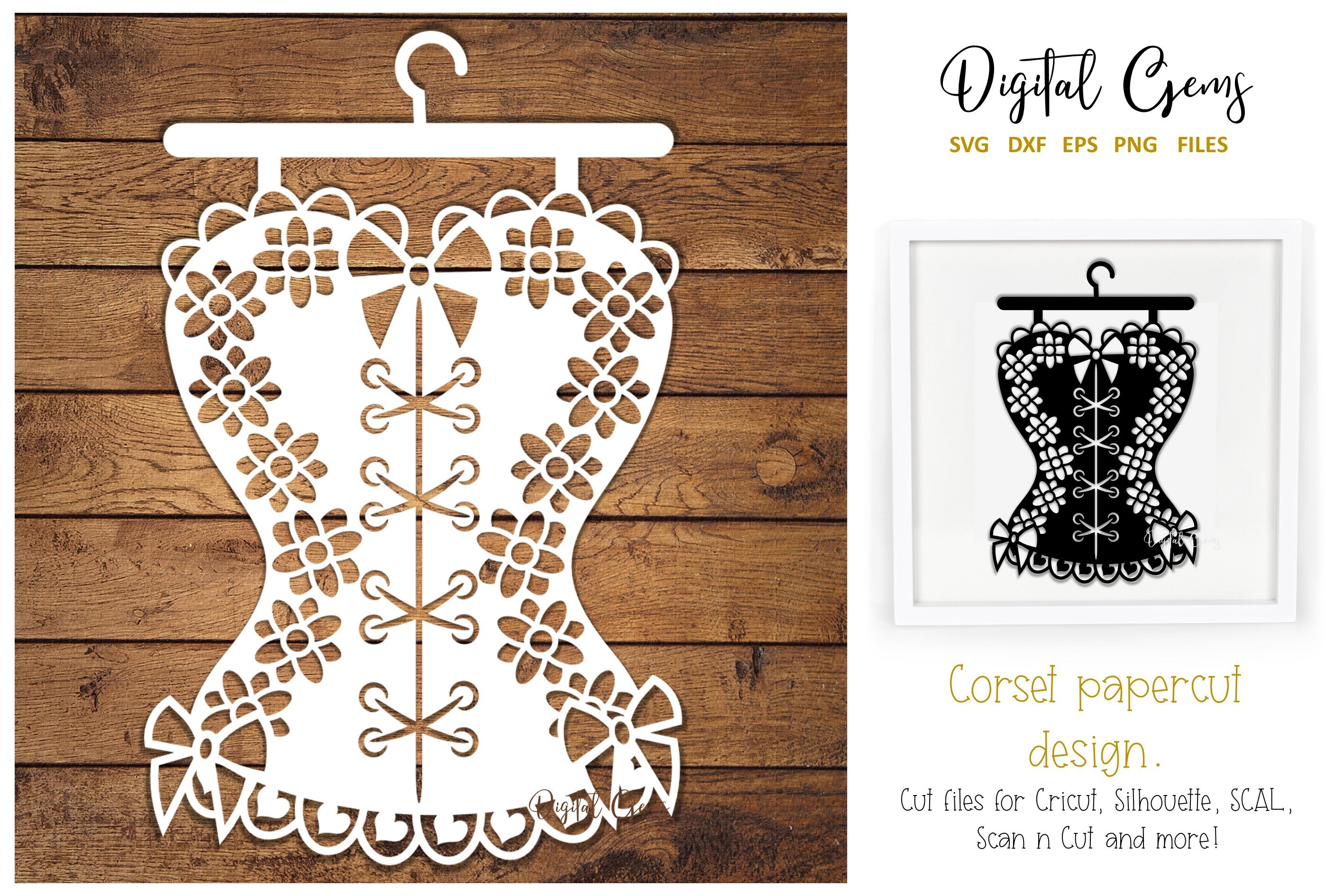 Download Free Corset Paper Cut Design Graphic By Digital Gems Creative Fabrica for Cricut Explore, Silhouette and other cutting machines.